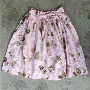 Vintage Pink Print Pleated Skirt